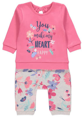 George Pink Floral Slogan Sweatshirt and Joggers Outfit