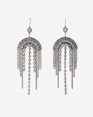 Express Arched Rhinestone Fringe Drop Earrings