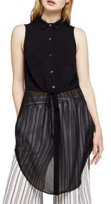 BCBGeneration Mixed-Media Sleeveless Drawstring Top