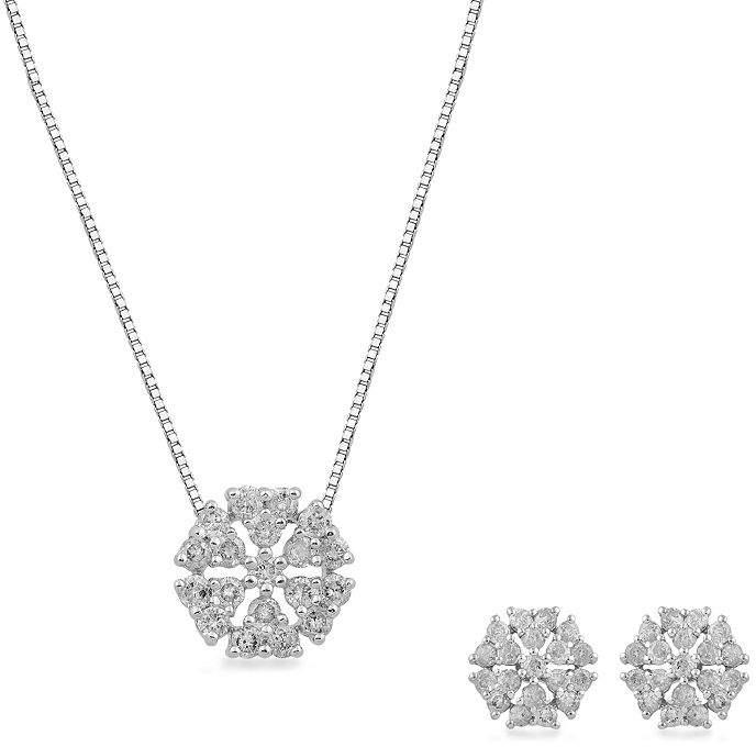 FINE JEWELRY Womens 2-pack 1 CT. T.W. White Diamond 10K Gold Jewelry Set