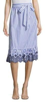 Draper James Stripe Eyelet Midi Skirt