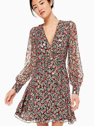 Kate Spade Floral park clip dot mini dress
