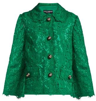 Dolce & Gabbana Cropped Lace Jacket - Womens - Dark Green