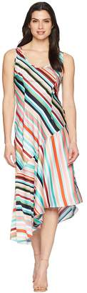 Donna Morgan Striped Charmuese Slip Dress with Asymmetrical Hemline Women's Dress