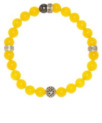 Jean Claude African Yellow Jade And Hemati Stretch Beaded Bracelet