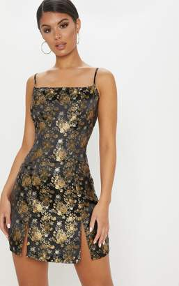 PrettyLittleThing Gold Floral Jacquard A Line Dress