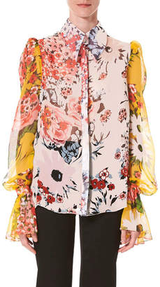 Carolina Herrera Flared-Cuff Floral-Print Chiffon Button-Front Shirt