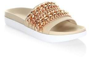 KENDALL + KYLIE Shiloh Chain-Link Leather Pool Slide Sandals