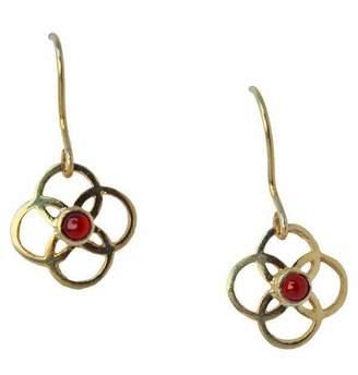 Mela Artisans Zibo Clover Earrings in Red Onyx