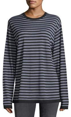 Alexander Wang Wash Go Striped Crewneck Long-Sleeve Merino Wool Tee