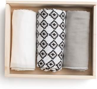 Lil Lemon by zestt Urban 3-Pack Organic Cotton Muslin Swaddle Blankets
