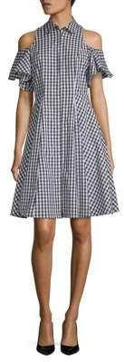 Saks Fifth Avenue Cold-Shoulder Gingham Shirtdress