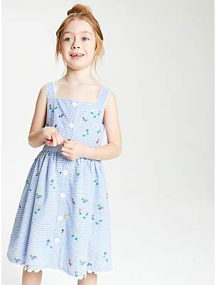 3fd6025100 John Lewis & Partners Girls' Stripe Embroidered Dress, ...
