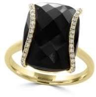 Effy Eclipse Diamonds, Onyx and 14K Yellow Gold Ring