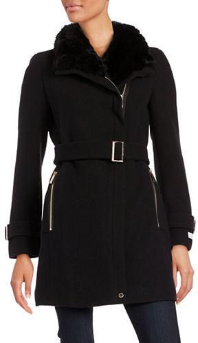 Calvin KleinCalvin Klein Wool-Blend Faux Fur-Trimmed Long Belted Coat