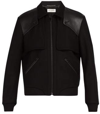Saint Laurent Tiered Leather Trimmed Wool Bomber Jacket - Mens - Black