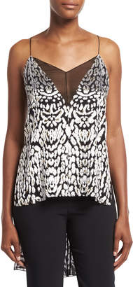 ADAM by Adam Lippes High-Low Illusion-V Cami Top, Black Pattern
