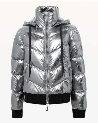 Juicy Couture Silver Metallic Hooded Down Puffer Jacket