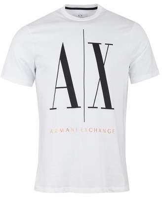 8ed54a338a7 Armani Exchange Icon Crew Neck T-shirt Colour: White And Gold, Size: