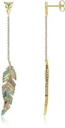 Thomas Sabo Gold Plated Sterling Silver, Enamel and Glass-ceramic Stones Feather Long Earrings