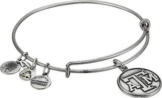 "Alex and Ani Collegiate"" University of Texas A&M Logo Expandable Rafaelian Silver-Tone Wire Bangle Bracelet"
