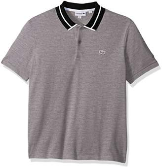 Lacoste Men's Short Sleeve 3 Plys Heavy Pique Polo with White Outline Croc, Silver Chine/Navy Blue