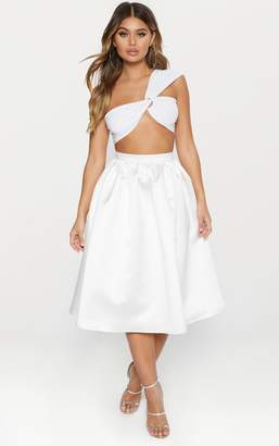 PrettyLittleThing White Satin Full Midi Skirt