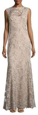 Tadashi Shoji Cap Sleeve Illusion Bodice Gown