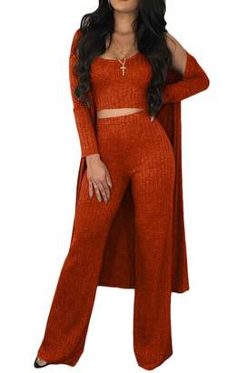 Rrive Womens Ribbed Tops 3 Pieces Long Cardigan Pants Tracksuit Outfit Set L