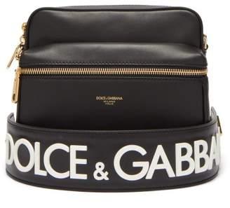 Dolce & Gabbana Logo Strap Leather Messenger Bag - Mens - Black