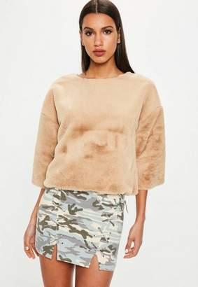 Missguided Camel Raw Edge Fur Sweater