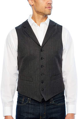 STAFFORD Stafford Merino Charcoal Herringbone Classic Fit Suit Vest