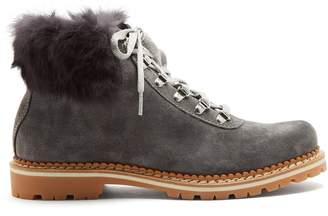MONTELLIANA Sequoia fur-trimmed suede après-ski boots