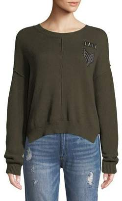 Rails Stafford Crewneck Military-Patch Knit Sweater w/ Seam Details