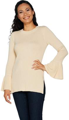 Du Jour Crew Neck Rib Knit Sweater with Bell Sleeves