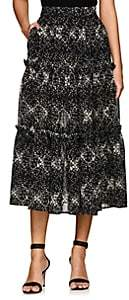 Co Women's Floral Wool Gauze Midi-Skirt-Black