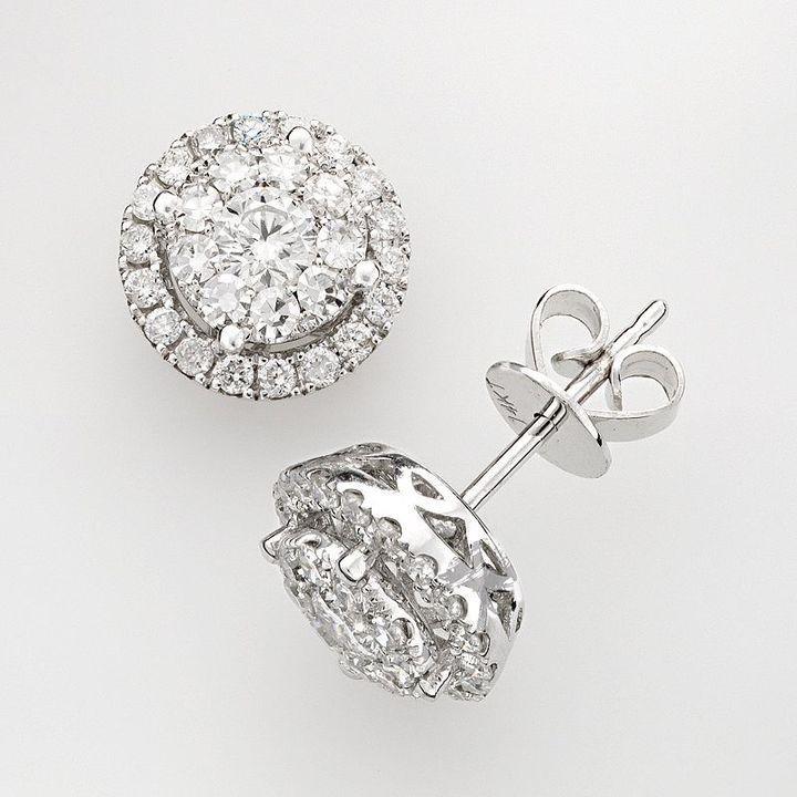 14k White Gold .88-Ct. T.w. Diamond Round Frame Stud Earrings