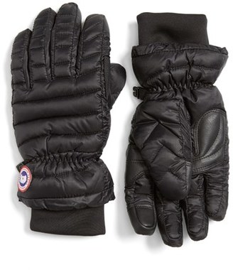 Women's Canada Goose Lightweight Quilted Down Gloves $90 thestylecure.com