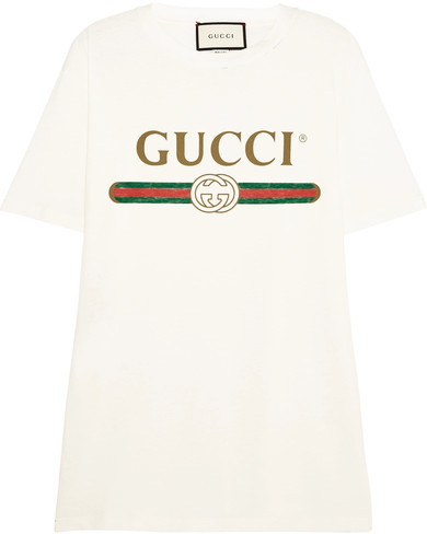 Gucci - Appliquéd Distressed Printed Cotton-jersey T-shirt - Cream