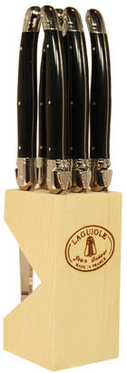 Jean Dubost Le Thiers 6 Steak Knives with Black Handles in Wood Block
