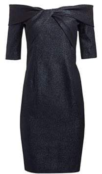 Teri Jon by Rickie Freeman Twisted Bodice Off-The-Shoulder Cocktail Dress