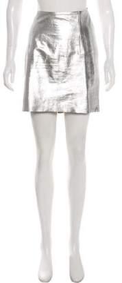 Wes Gordon Metallic Leather Mini Skirt