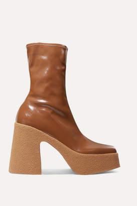 Stella McCartney Vegetarian Patent-leather Platform Sock Boots - Tan