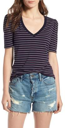 Treasure & Bond Stripe V-Neck Puff Sleeve Tee