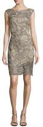 Tadashi Shoji Lace-Overlay Cocktail Dress, Pearl/Smoke $408 thestylecure.com
