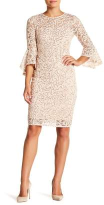 Marina Sequin Lace Bell Sleeve Short Dress
