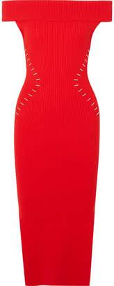 Thierry Mugler Off-the-shoulder Embellished Ribbed-knit Dress - Red