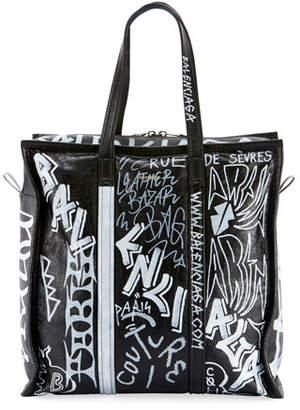 Balenciaga Men's Bazar Medium Graffiti Leather Shopper Tote Bag
