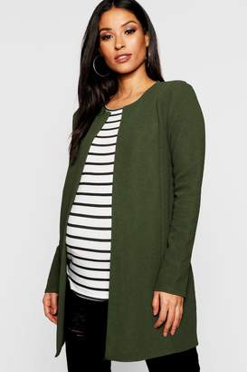 boohoo Maternity Collarless Smart Duster Jacket