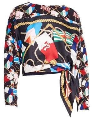 Sandro Women's Lauren Printed Silk Top - Black - Size 1 (S)
